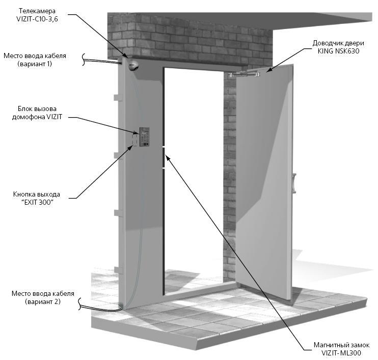 Схема установки домофона.